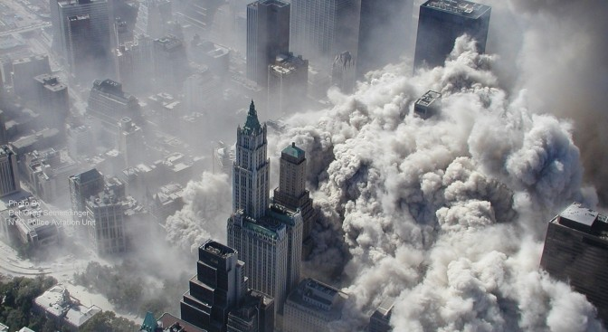 Smoke and ash engulf lower Manhattan on September 11 2001. Photograph: Greg Semendinger (NYPD)/AP